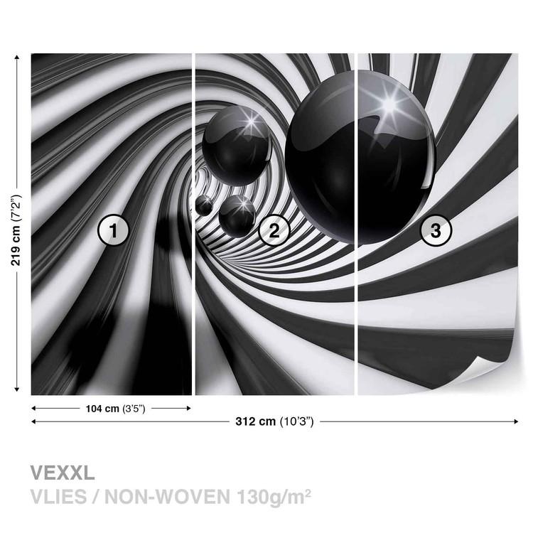 Abstract Swirl Modern Spheres Wallpaper Mural
