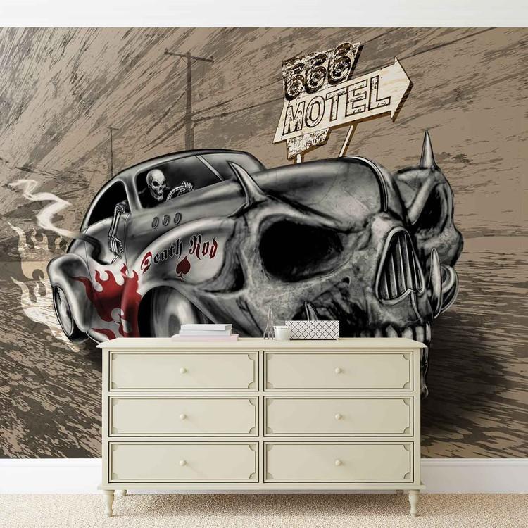 Alchemy Death Hot Rod Car Skull Wallpaper Mural
