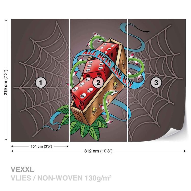 Alchemy Dice Tomb Skulls Spider Web Wallpaper Mural