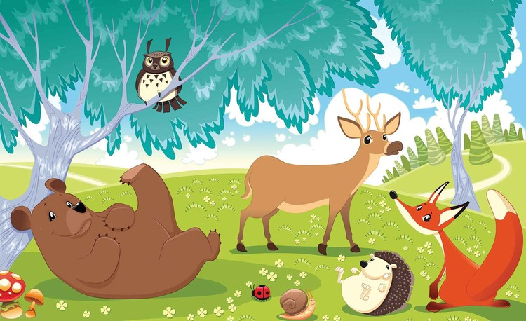 Animals In Forest Wallpaper Mural