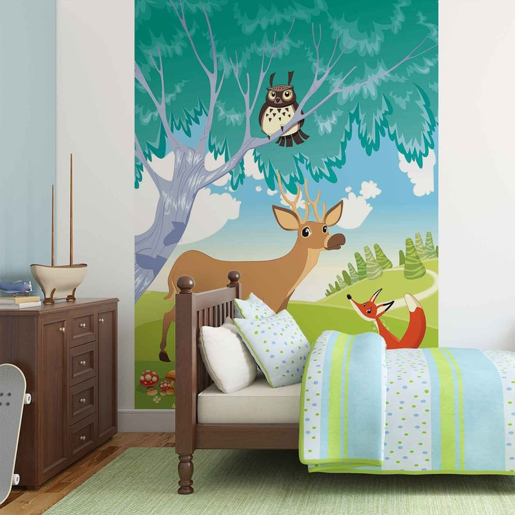 Animals in The Forest Wallpaper Mural