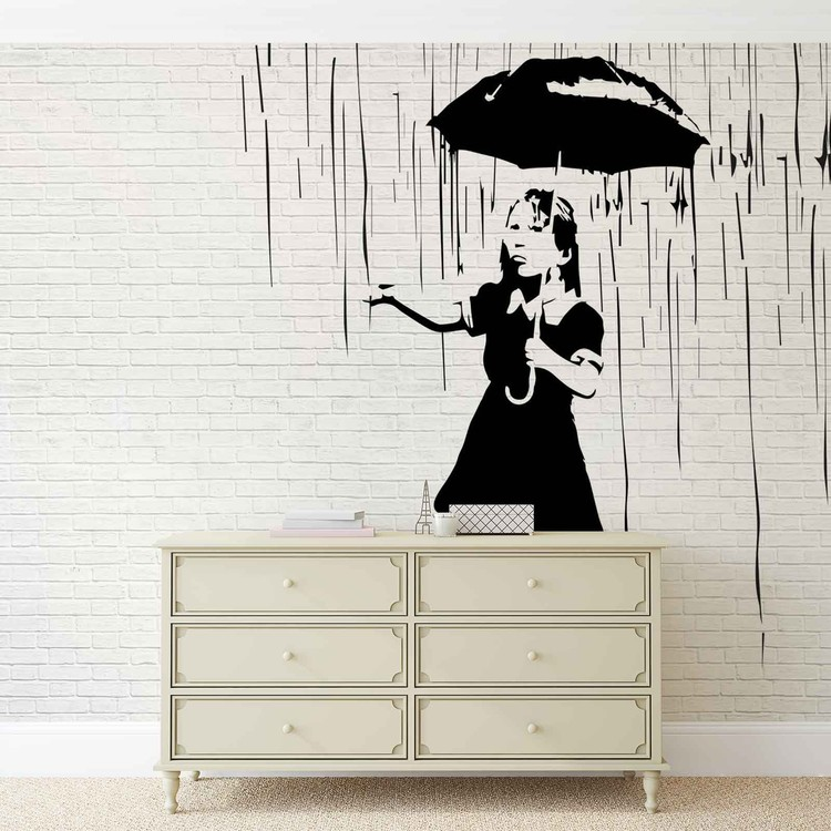 Banksy Graffiti Brick Wall Wallpaper Mural