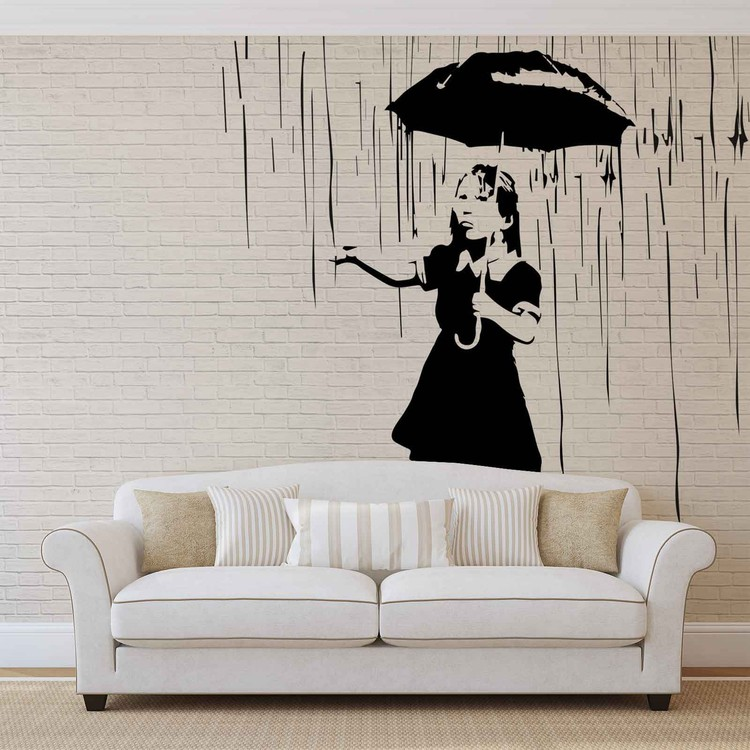 Banksy Graffiti Brick Wall Wallpaper Mural