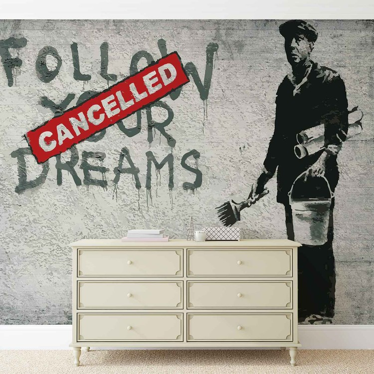 Banksy Graffiti Concrete Wall Wallpaper Mural