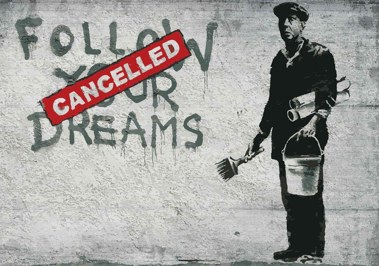 Banksy Graffiti Concrete Wall Wallpaper Mural