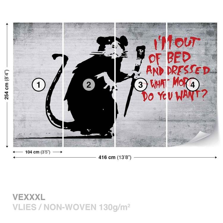 Banksy Graffiti Rat Concrete Wall Wallpaper Mural