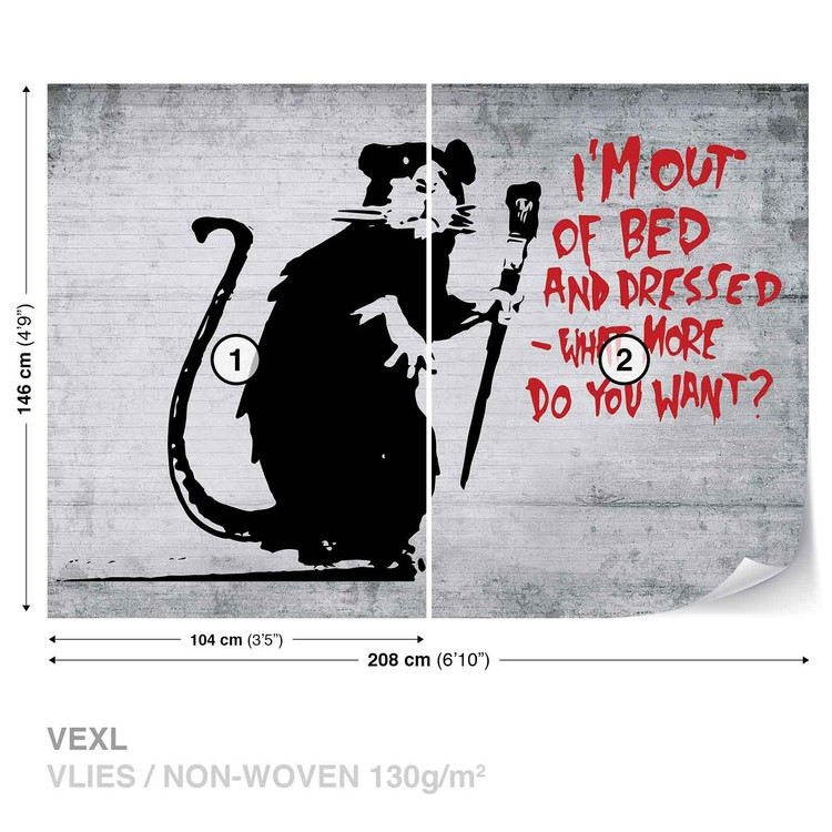 Banksy Graffiti Rat Concrete Wall Wallpaper Mural