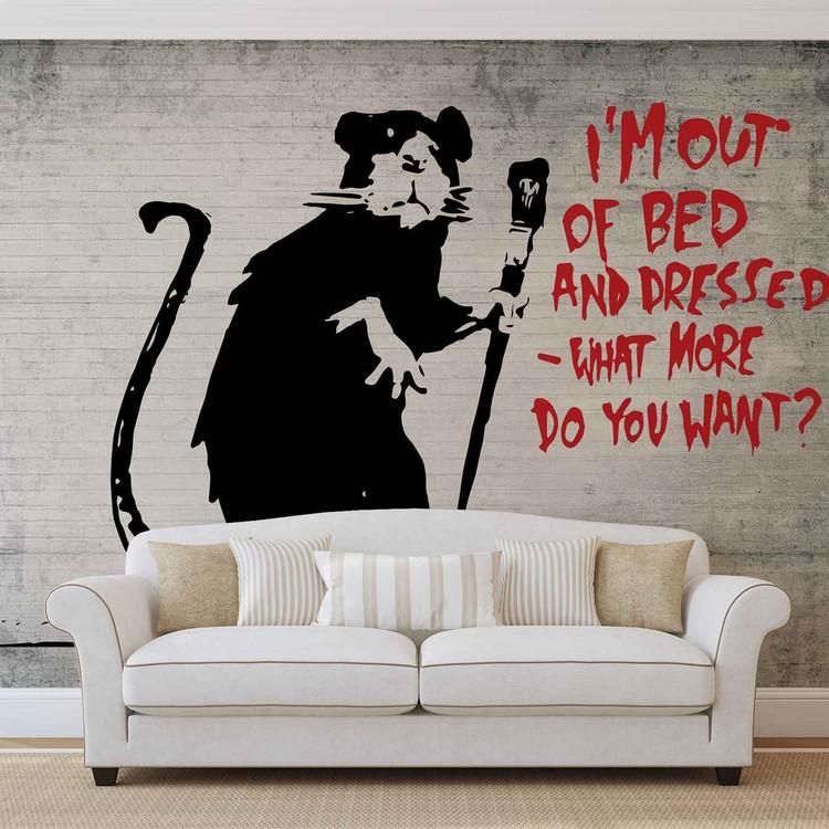Banksy Graffiti Rat Concrete Wall Wall Paper Mural Buy at EuroPosters