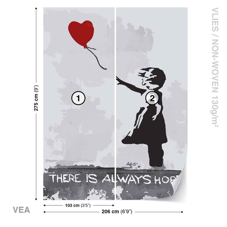 Banksy Street Art Balloon Heart Graffiti Wallpaper Mural