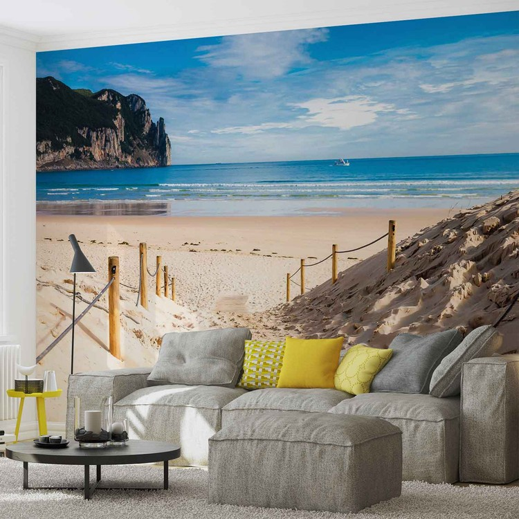 Beach Path Nature Sea Sand Cliff Wallpaper Mural