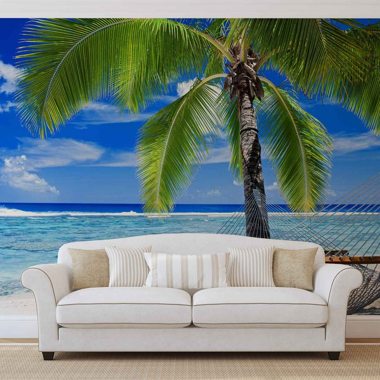 Beach Sea Sand Palms Hammock Wallpaper Mural