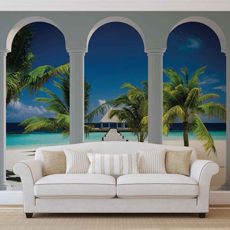 Beach Tropical Paradise Arches Wall Paper Mural Buy At Europosters