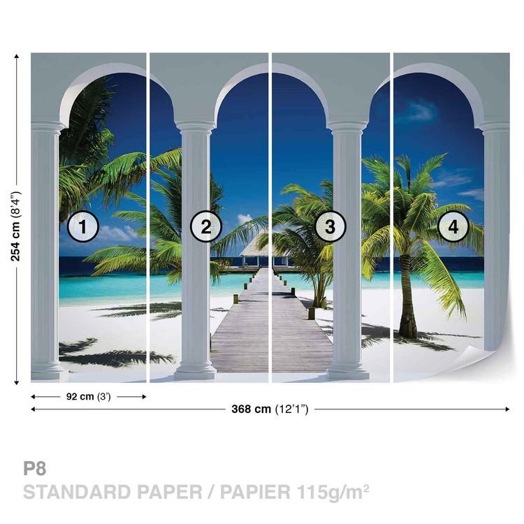Beach Tropical Paradise Arches Wallpaper Mural