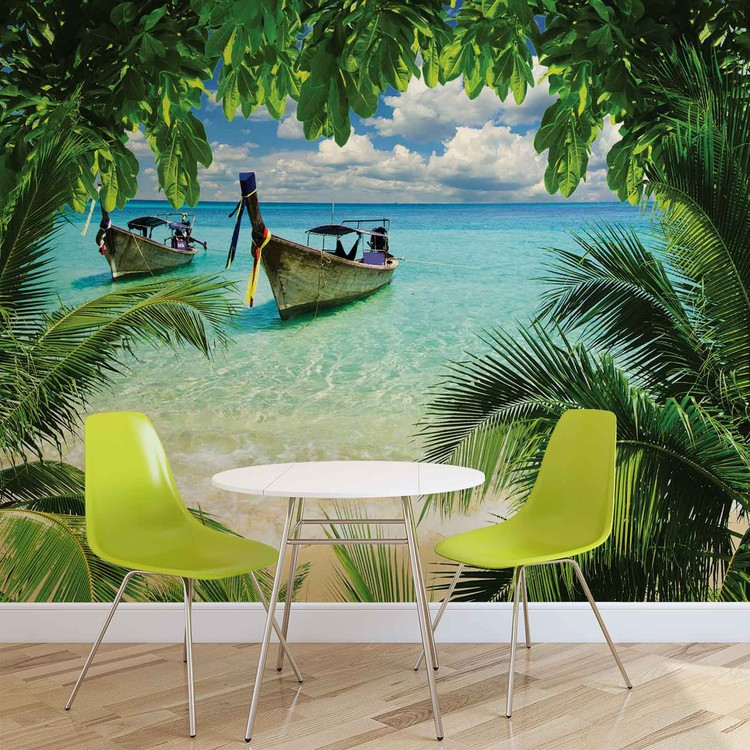 Beach Tropical Paradise Boat Wallpaper Mural