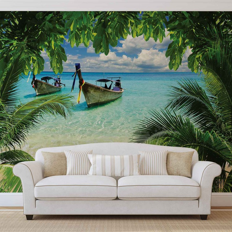 Beach Tropical Paradise Boat Wall Paper Mural Buy at Abposterscom
