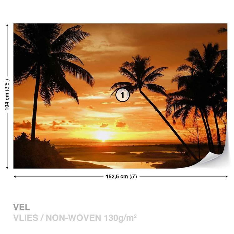 Beach Tropical Sunset Palms Wallpaper Mural
