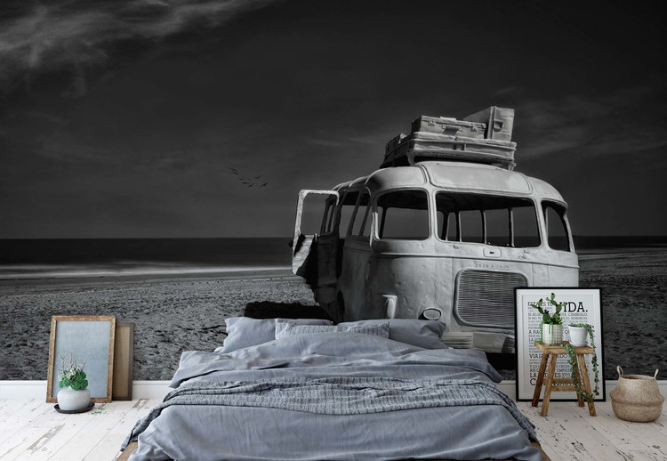 Beached Bus Wallpaper Mural