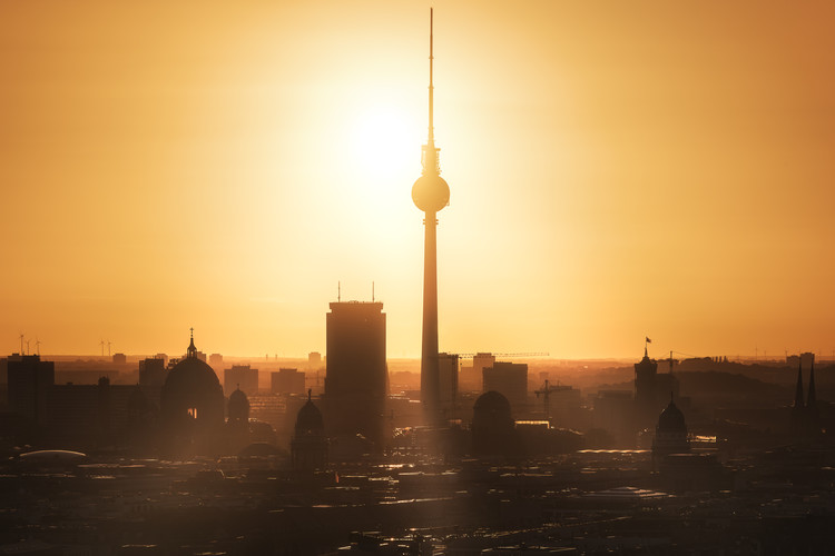 Berlin - Skyline Sunrise Wallpaper Mural