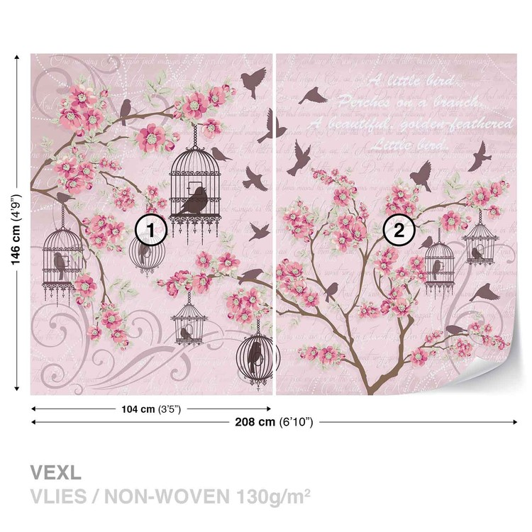 Birds Cherry Blossom Pink Wallpaper Mural