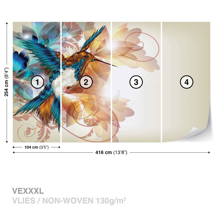 Birds Hummingbirds Flowers Abstract Wallpaper Mural