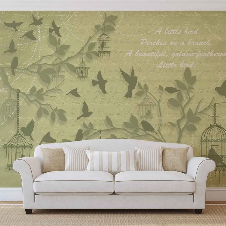 Birds Trees Green Wallpaper Mural