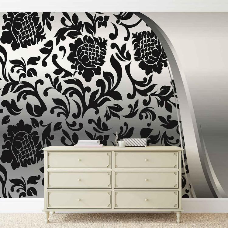 Black Silver Flower Pattern Wallpaper Mural