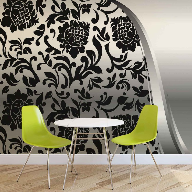Black Silver Flower Pattern Wall Paper Mural Buy At Europosters