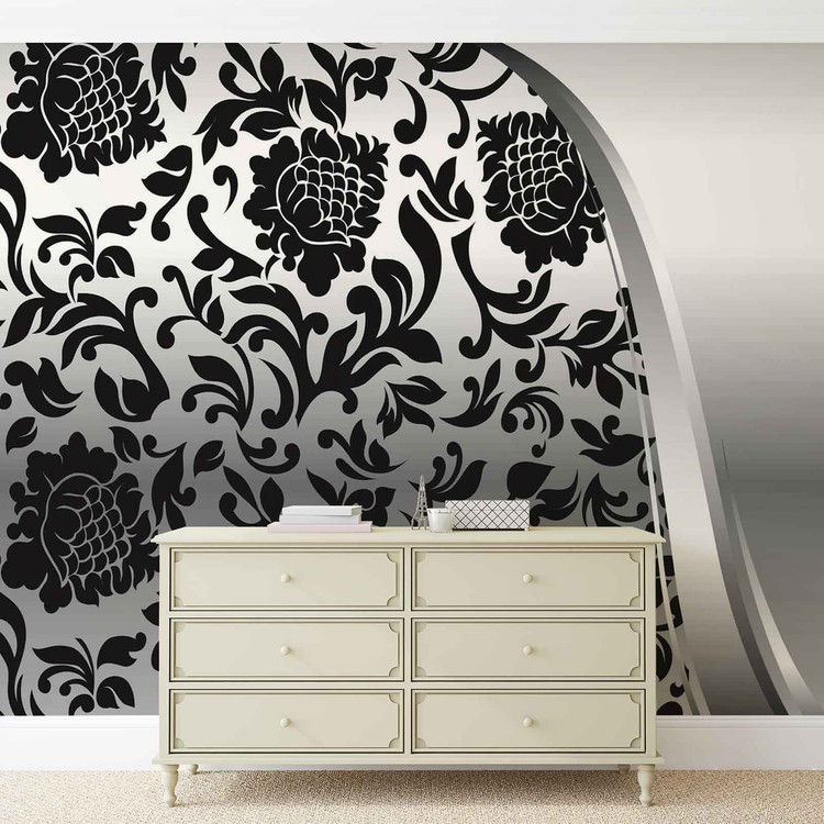 Black Silver Flower Pattern Wallpaper Mural