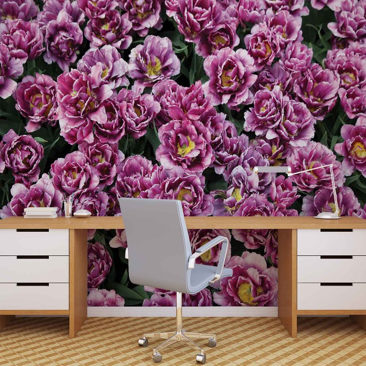 Blossomed Flowers Purple Wallpaper Mural