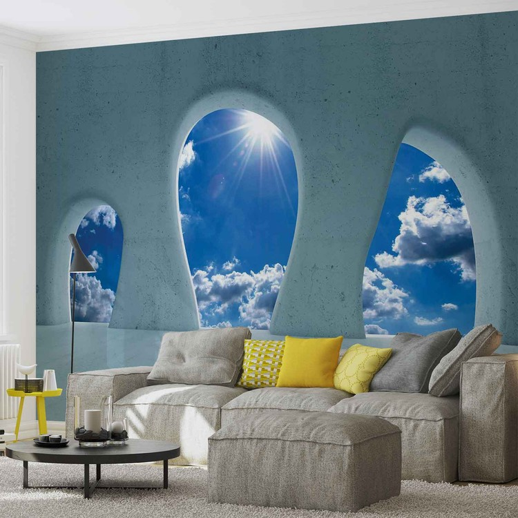 Blue Sky View Modern Wallpaper Mural