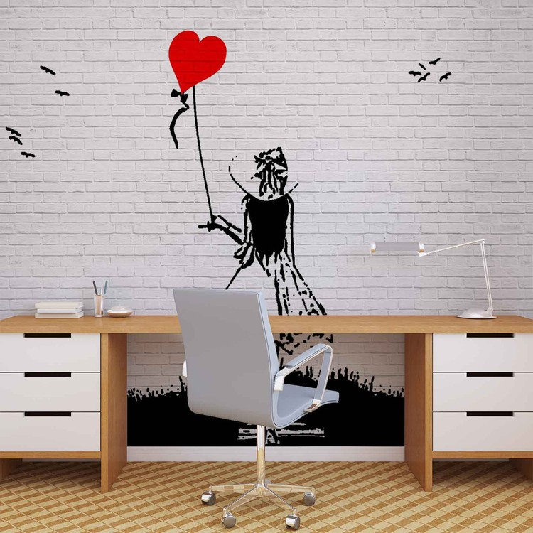 Brick Wall Heart Balloon Girl Graffiti Wallpaper Mural