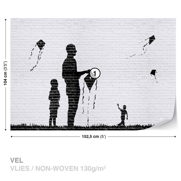 Brick Wall Kites Kids Black White Wallpaper Mural