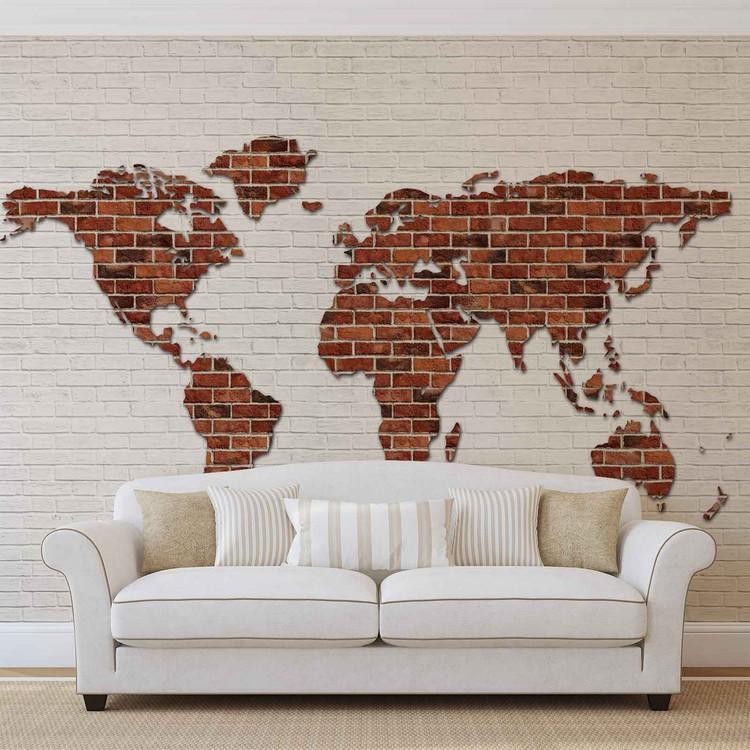 Brick wall world map wall paper mural buy at europosters brick wall world map wallpaper mural gumiabroncs Images