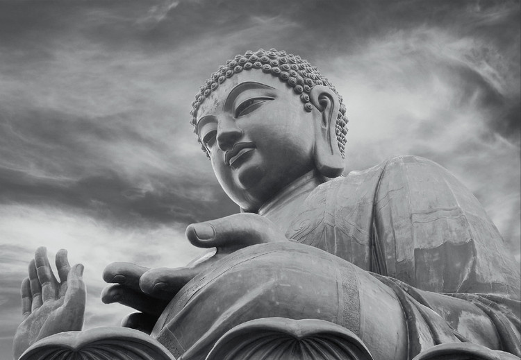 Buddha - Black and white Wallpaper Mural