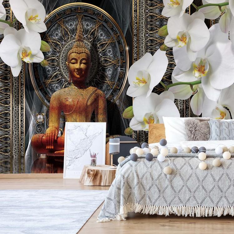 Buddha Zen Flowers Orchids Mandala Wallpaper Mural