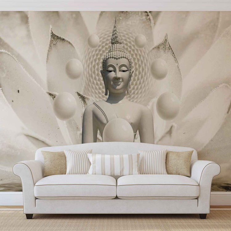 Buddha Zen Spheres Flower 3D Wallpaper Mural