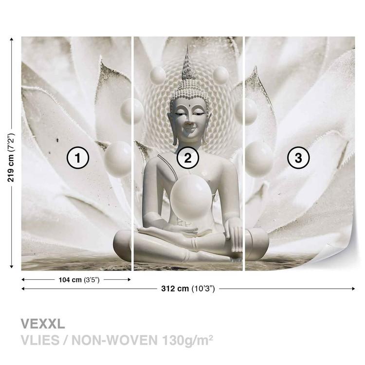 Buddha Zen Spheres Flower 3D Wallpaper Mural