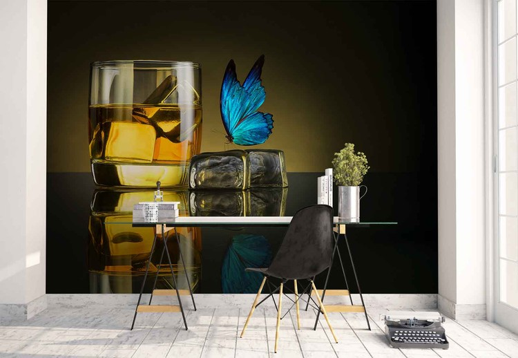 Butterfly Drink Wallpaper Mural