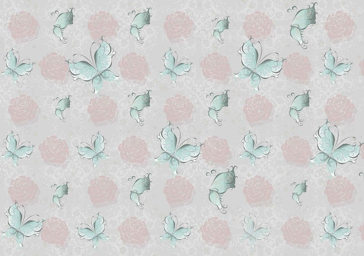 Butterlies and Roses Pattern Wallpaper Mural