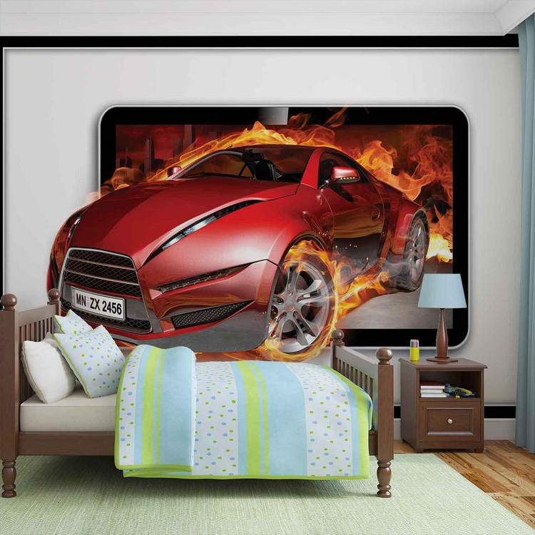 Car flames wall paper mural buy at europosters for Cars movie wall mural
