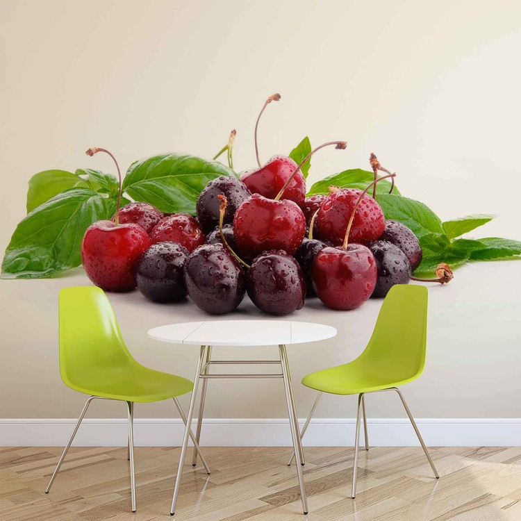 Cherries With Leaves Wallpaper Mural