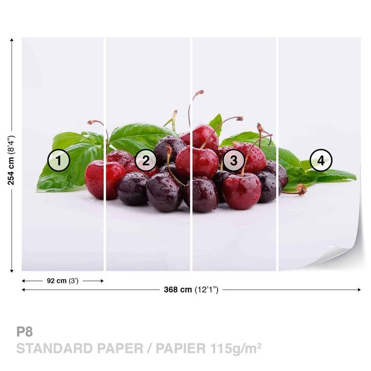 Cherries With Leaves Wallpaper Mural