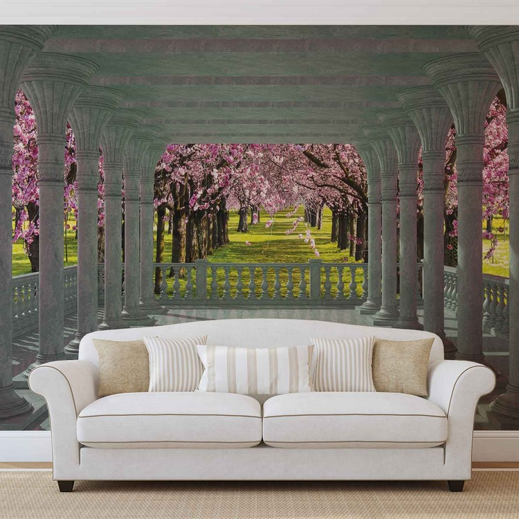 Cherry Trees through The Arches Wallpaper Mural