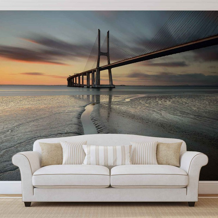 City Bridge Beach Sun Portugal Sunset Wallpaper Mural