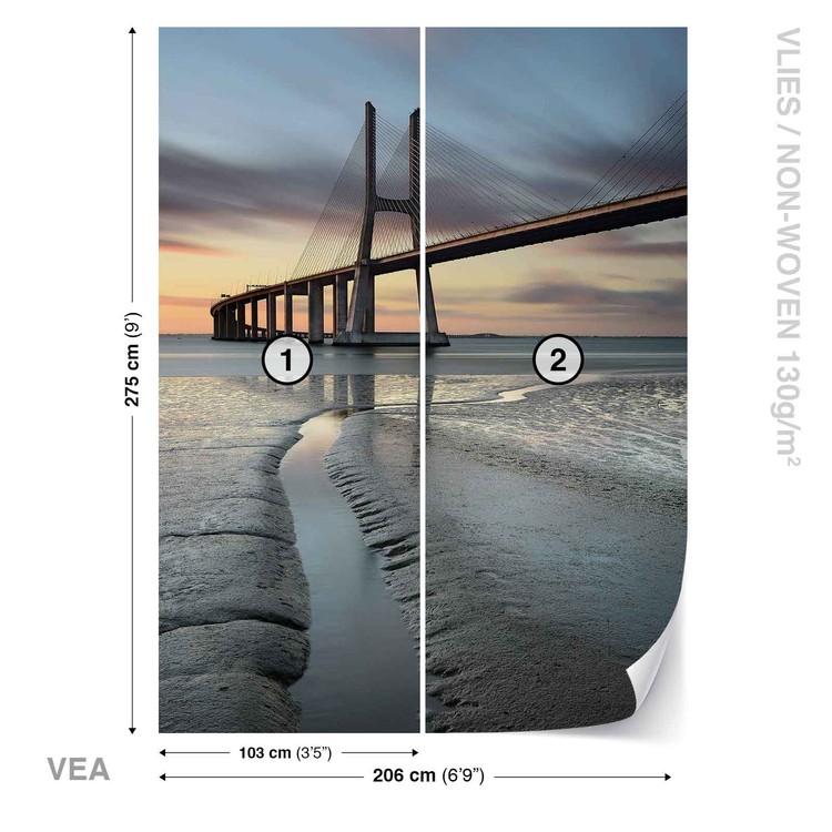 City Bridge Beach Sun Portugal Sunset Wallpaper Mural