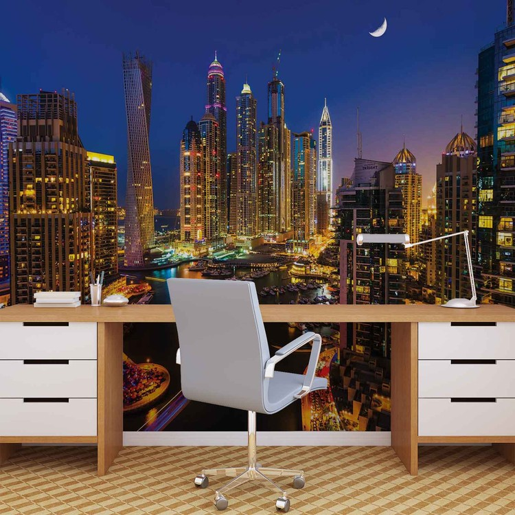 City Dubai Skyscraper Night Wallpaper Mural