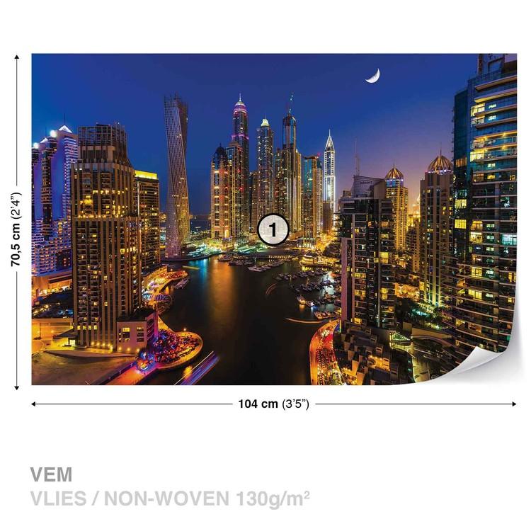 City Dubai Skyscraper Night Wallpaper Mural
