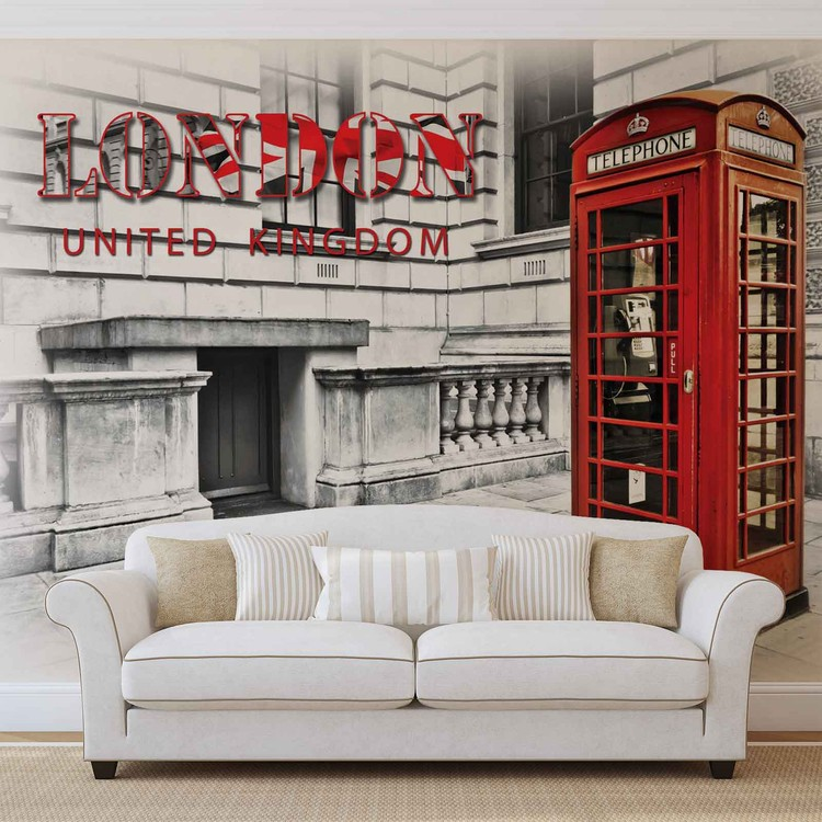 City London Telephone Box Red Wallpaper Mural