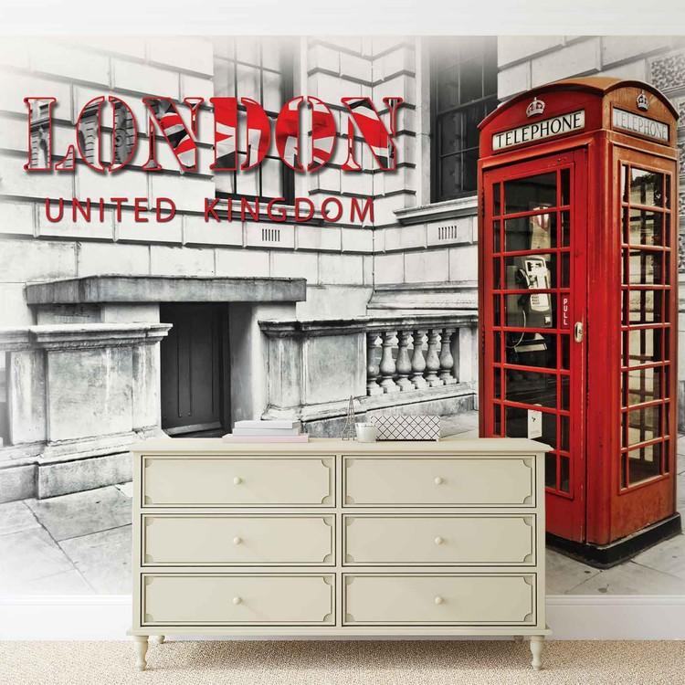 City London Telephone Box Red Wallpaper Mural