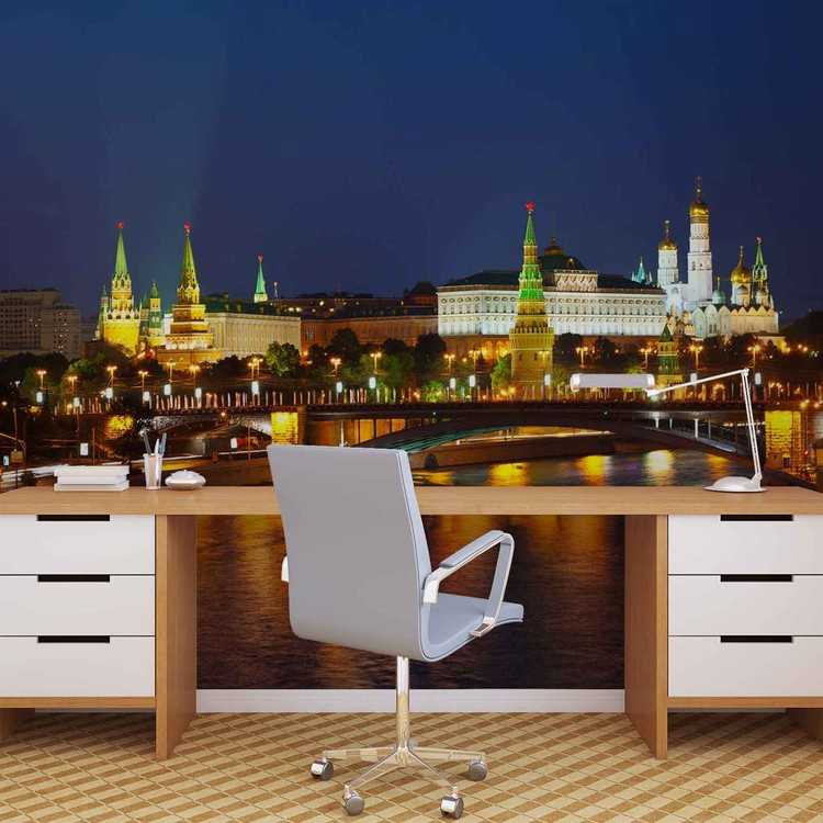 City Moscow River Bridge Skyline Night Wallpaper Mural